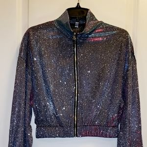 Tops - Mock neck crop top with long sleeve. Holographic